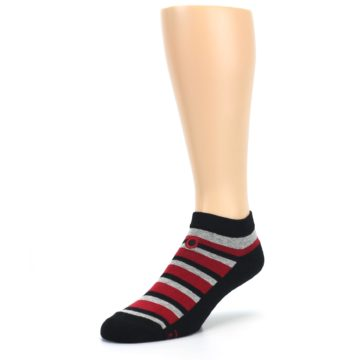 Image of Black Red Gray Stripe Poverty Men's Ankle Socks (side-2-front-08)