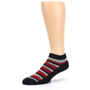 Image of Black Red Gray Stripe Poverty Men's Ankle Socks (side-2-09)