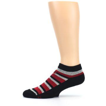 Image of Black Red Gray Stripe Poverty Men's Ankle Socks (side-2-11)