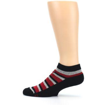 Image of Black Red Gray Stripe Poverty Men's Ankle Socks (side-2-12)