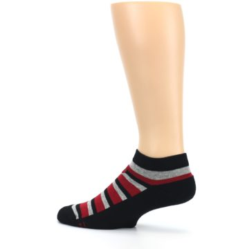 Image of Black Red Gray Stripe Poverty Men's Ankle Socks (side-2-13)