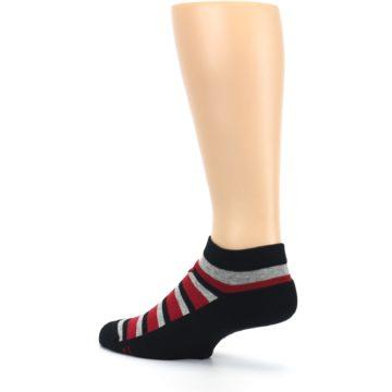 Image of Black Red Gray Stripe Poverty Men's Ankle Socks (side-2-back-14)