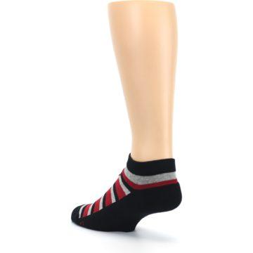 Image of Black Red Gray Stripe Poverty Men's Ankle Socks (side-2-back-15)