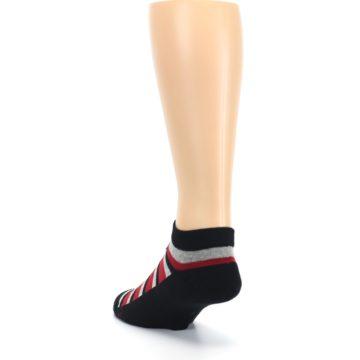 Image of Black Red Gray Stripe Poverty Men's Ankle Socks (side-2-back-16)
