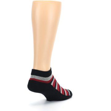 Image of Black Red Gray Stripe Poverty Men's Ankle Socks (side-1-back-21)