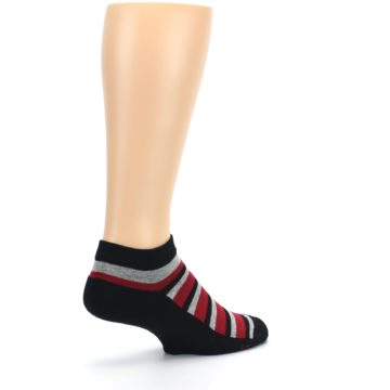 Image of Black Red Gray Stripe Poverty Men's Ankle Socks (side-1-back-22)