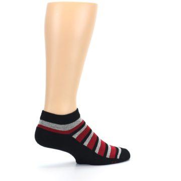 Image of Black Red Gray Stripe Poverty Men's Ankle Socks (side-1-23)