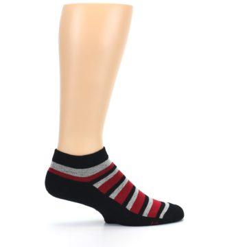 Image of Black Red Gray Stripe Poverty Men's Ankle Socks (side-1-24)
