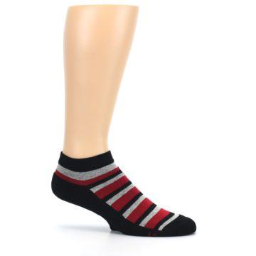 Image of Black Red Gray Stripe Poverty Men's Ankle Socks (side-1-25)