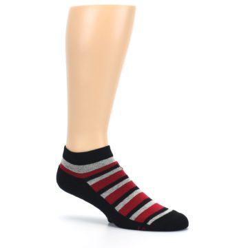 Image of Black Red Gray Stripe Poverty Men's Ankle Socks (side-1-26)