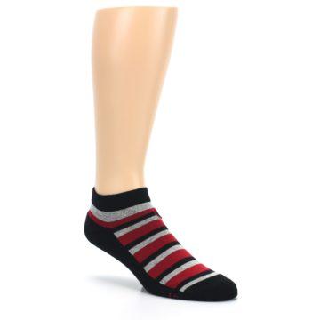 Image of Black Red Gray Stripe Poverty Men's Ankle Socks (side-1-27)