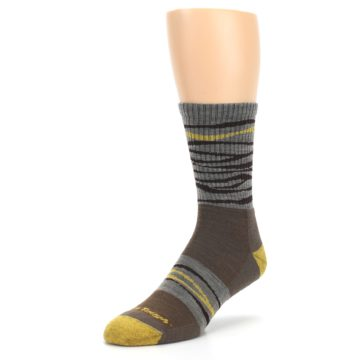 Image of Brown Gray Mustard Stripe Wool Hiking Crew Socks (side-2-front-08)