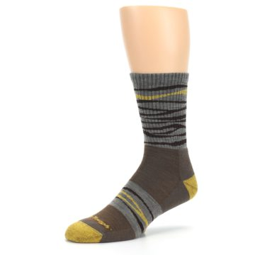 Image of Brown Gray Mustard Stripe Wool Hiking Crew Socks (side-2-09)