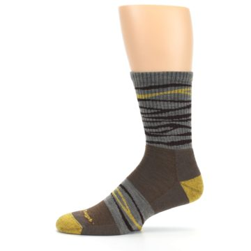 Image of Brown Gray Mustard Stripe Wool Hiking Crew Socks (side-2-11)