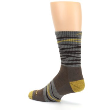 Image of Brown Gray Mustard Stripe Wool Hiking Crew Socks (side-2-back-14)