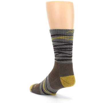 Image of Brown Gray Mustard Stripe Wool Hiking Crew Socks (side-2-back-15)