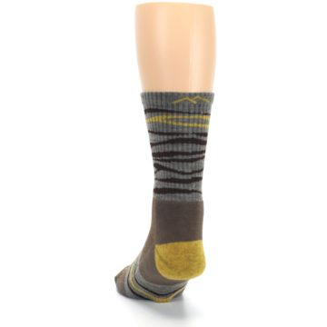 Image of Brown Gray Mustard Stripe Wool Hiking Crew Socks (back-17)
