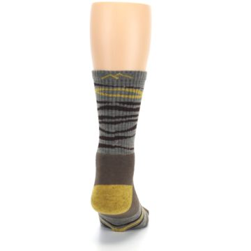 Image of Brown Gray Mustard Stripe Wool Hiking Crew Socks (back-19)