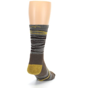 Image of Brown Gray Mustard Stripe Wool Hiking Crew Socks (side-1-back-20)