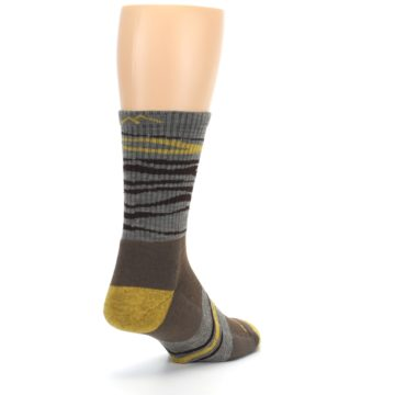 Image of Brown Gray Mustard Stripe Wool Hiking Crew Socks (side-1-back-21)