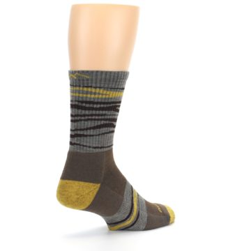 Image of Brown Gray Mustard Stripe Wool Hiking Crew Socks (side-1-back-22)
