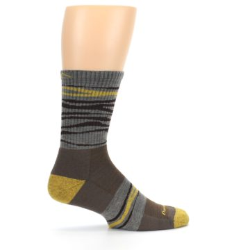 Image of Brown Gray Mustard Stripe Wool Hiking Crew Socks (side-1-24)