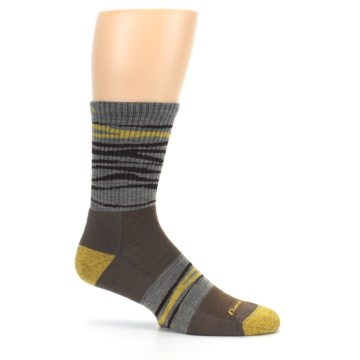Image of Brown Gray Mustard Stripe Wool Hiking Crew Socks (side-1-25)