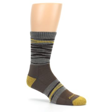 Image of Brown Gray Mustard Stripe Wool Hiking Crew Socks (side-1-26)