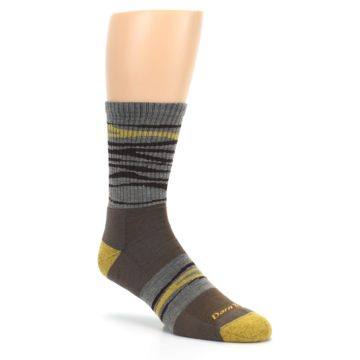 Image of Brown Gray Mustard Stripe Wool Hiking Crew Socks (side-1-27)