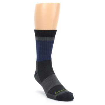 Image of Blue Gray Men's Wool Hiking Crew Socks (side-1-front-02)