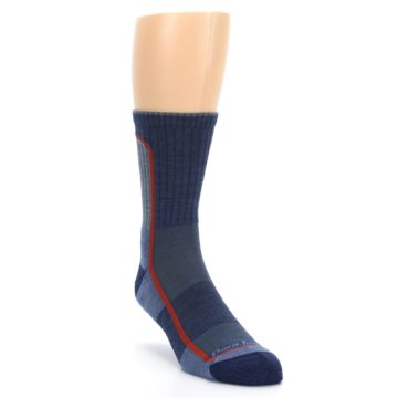 Image of Denim Orange Men's Wool Hiking Crew Socks (side-1-front-02)