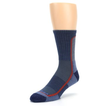 Image of Denim Orange Men's Wool Hiking Crew Socks (side-2-front-08)