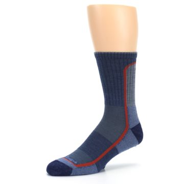 Image of Denim Orange Men's Wool Hiking Crew Socks (side-2-09)