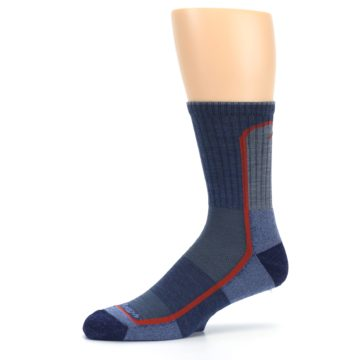 Image of Denim Orange Men's Wool Hiking Crew Socks (side-2-10)