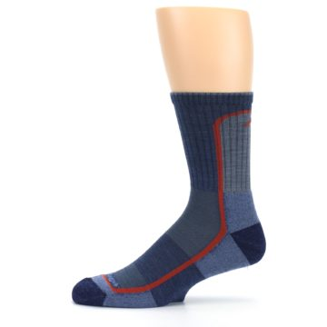 Image of Denim Orange Men's Wool Hiking Crew Socks (side-2-11)