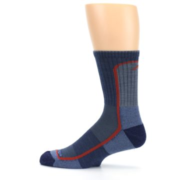 Image of Denim Orange Men's Wool Hiking Crew Socks (side-2-12)