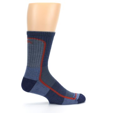 Image of Denim Orange Men's Wool Hiking Crew Socks (side-1-24)