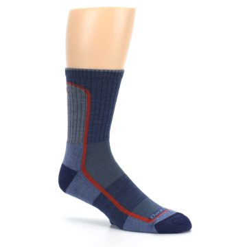Image of Denim Orange Men's Wool Hiking Crew Socks (side-1-26)