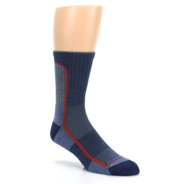 Image of Denim Orange Men's Wool Hiking Crew Socks (side-1-27)