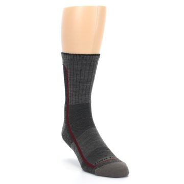 Image of Smoke Cranberry Men's Hiking Crew Socks (side-1-front-02)