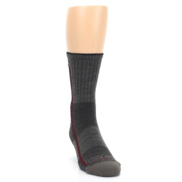Image of Smoke Cranberry Men's Hiking Crew Socks (side-1-front-03)
