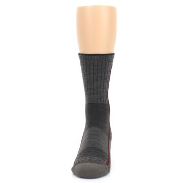 Image of Smoke Cranberry Men's Hiking Crew Socks (front-05)