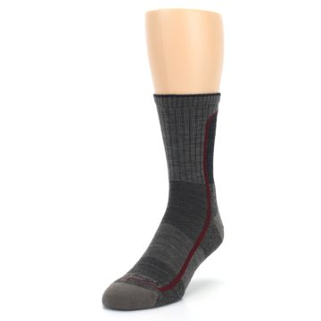 Image of Smoke Cranberry Men's Hiking Crew Socks (side-2-front-07)