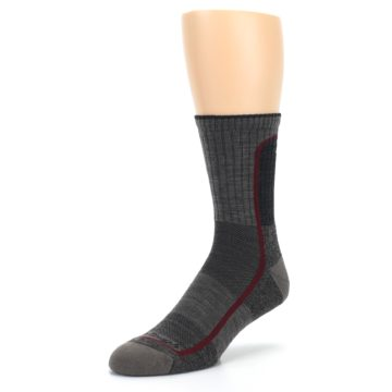 Image of Smoke Cranberry Men's Hiking Crew Socks (side-2-front-08)