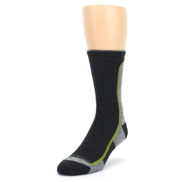 Image of Charcoal Lime Men's Wool Hiking Socks (side-2-front-07)