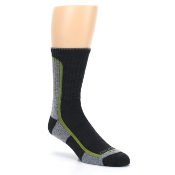Image of Charcoal Lime Men's Wool Hiking Socks (side-1-27)