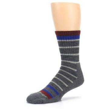 Image of Gray Cream Men's Wool Hiking Crew Socks (side-2-09)