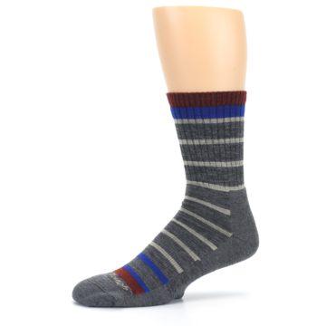 Image of Gray Cream Men's Wool Hiking Crew Socks (side-2-10)
