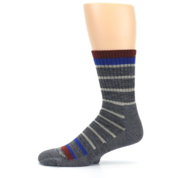 Image of Gray Cream Men's Wool Hiking Crew Socks (side-2-11)