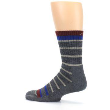 Image of Gray Cream Men's Wool Hiking Crew Socks (side-2-13)